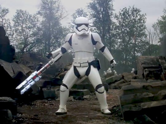 "The stormtrooper (pictured) who calls Finn a ""traitor"" in ""Star Wars: A Force Awakens"" is voiced by Delaware native David Acord."
