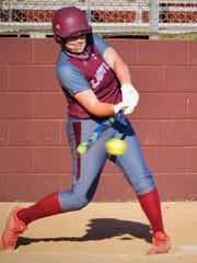 Brownwood's Chyanne Ellett drives a sixth-inning pitch for a a two-RBI single in Friday's 6-0 win over Sweetwater