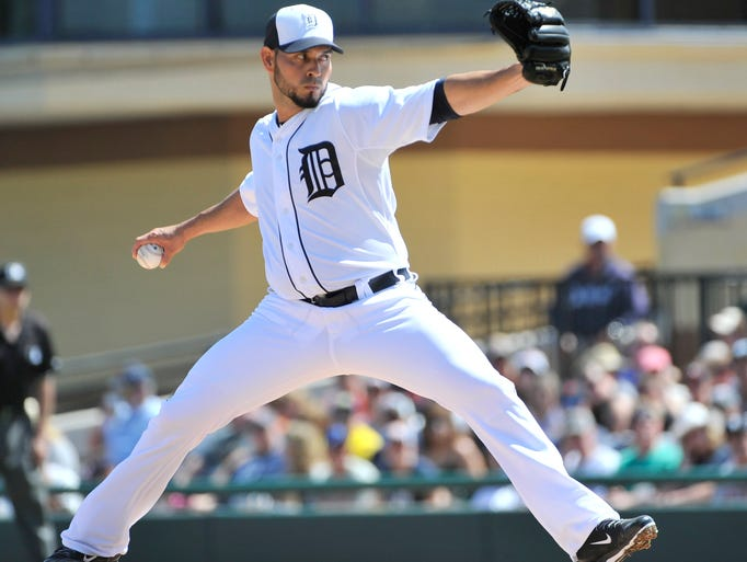Tigers pitcher Anibal Sanchez works in the second inning