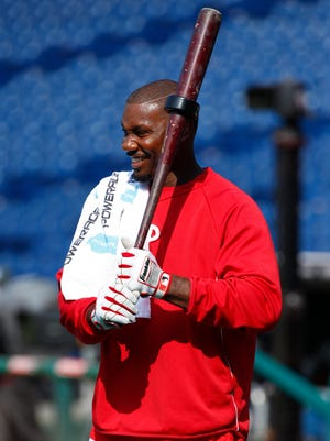 The Phillies' Ryan Howard looks on while at batting practice prior to the first inning against the San Francisco Giants on Wednesday in Philadelphia. The Giants won 3-1.