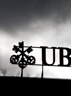 The UBS logo in Zurich.