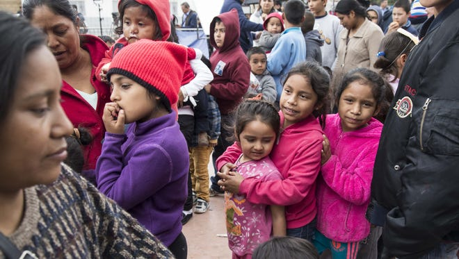 About 200 migrants from Central America who traveled in a caravan through Mexico are camped outside the entrance of the San Ysidro port of entry, after being turned away Sunday by U.S. Customs and Border Protection officials on April 30, 2018. So far, none of the migrants from Central America seeking asylum in the U.S. have been allowed into the port to be processed, said Irineo Mujica, of Pueblo Sin Fronteras, the transnational group that organized the caravan.