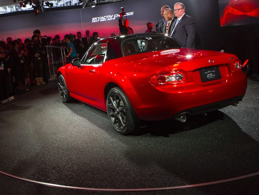 The Mazda MX-5 Miata 25th Anniversary Edition is unveiled during a media preview of the 2014 New York International Auto Show