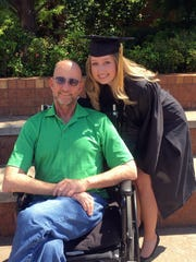 Alison Fields celebrates with her father, Jathan Fields, after graduating from Rider High School in 2016.