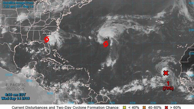This NOAA satellite image was available Wednesday, Sept. 14, 2016 at 8:30 a.m.
