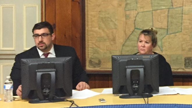 Town board member Michael Del Vecchio and town Supervisor Barbara Zulauf listen during a budget workshop at town hall on Thursday.