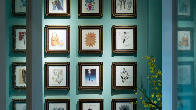 These 20 original fashion sketches, signed by the designers, were found years ago in Watson's basement. Framed and mounted in suede, these are prized pieces. Designers with the most legible signatures include Thierry Mugler, Alexander Julian, Oleg Cassini and Paloma Picasso.