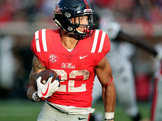 Mississippi running back Jordan Wilkins (22) looks