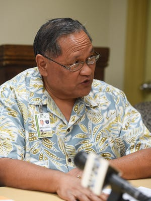 """In this file photo Department of Corrections Director Alberto""""Tony"""" Lamorena V speaks during a press conference  on Jan. 9, 2018 in Tiyan."""