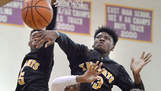McQuaid's Isaiah Stewart, top, blocks a shot last season. The major-college recruit, who is just a sophomore, is expected to make his season debut on Wednesday night at Monroe. Stewart has been out with an injury.