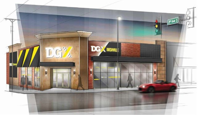 Exterior design of the new DGX store planned at the corner of 21st Avenue and West End, which may be modified at some point.