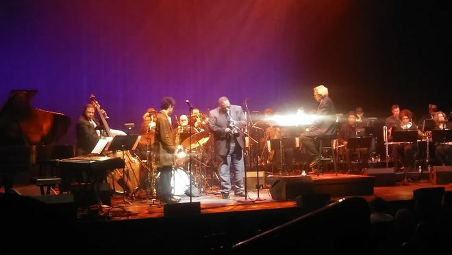 Jazz trumpeter Wallace Roney, center, took the stage on Thursday, April 20, in the New Jersey Performing Arts Center in Newark as part of a tribute to Wayne Shorter.