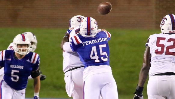 Louisiana Tech defensive end Jaylon Ferguson (45) sacks