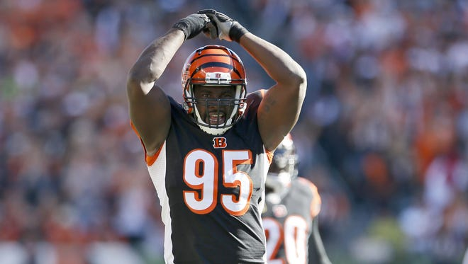Cincinnati Bengals defensive end Wallace Gilberry (95) wants to play at least one more, his 10th, in the NFL.