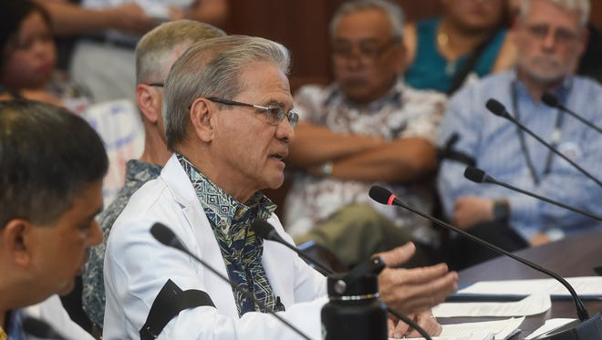Guam Memorial Hospital Medical Director Dr. Vincent Duenas gives a testimony during a public hearing at the Guam Congress Building on Jan. 29, 2018.