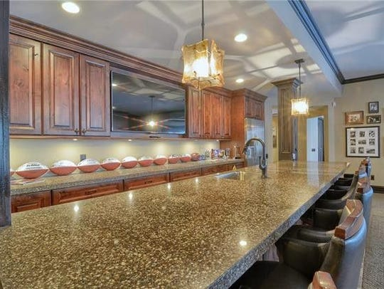 The bar area at Jim Caldwell's Franklin home.