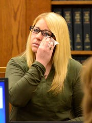 Sarah Dannenberger, 37, of Clyde, the girlfriend of jail escapee Mickey Mantle Hardy, testifies during the October trial of Christopher Torres.