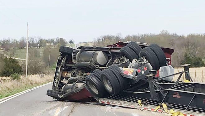 This semi crash from earlier this year on highway K-7 north of Girard is just one of more than a dozen so far in 2020. -- COURTESY PHOTO