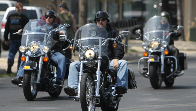 Bikers arrive at a previous motorcycle awareness ride in Springfield.