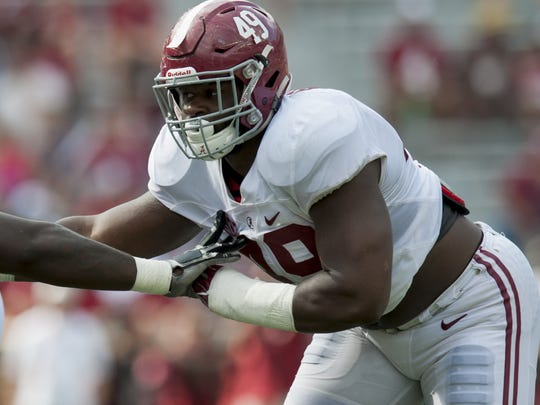 Alabama defensive lineman Isaiah Buggs (49) during the A-Day scrimmage game at Bryant Denny Stadium in Tuscaloosa, Ala., on Saturday April 22, 2017. (Mickey Welsh / Montgomery Advertiser)