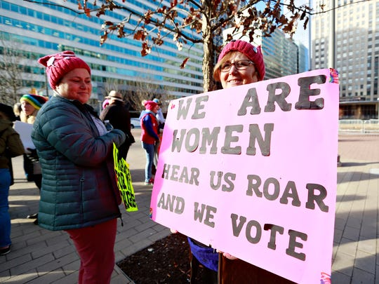 Thousands gather for the Women's March on Philadelphia, Saturday, Jan. 20, 2018. The rally was one of dozens across the country. Dawn J. Sagert photo