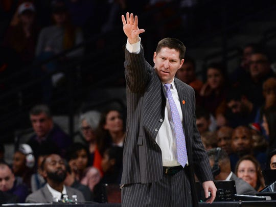 Clemson head coach Brad Brownell during the first half at McCamish Pavillion in Atlanta on Sunday.