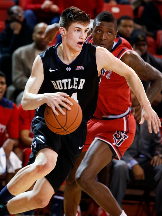 Butler's Kellen Dunham drives against St. John's during the first half of an NCAA college basketball game Saturday, Jan. 3, 2015, in New York. Butler won 73-69. (AP Photo/Jason DeCrow)