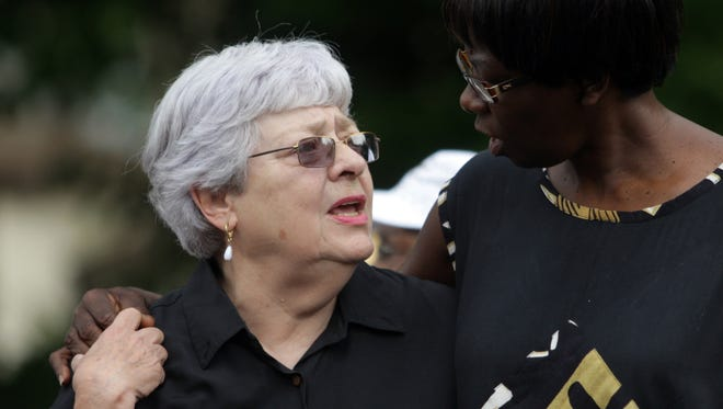 Dottie Gutenkauf, left, with Piscataway resident Lois Green during a Muhlenberg Regional Medical Center rally in 2008.