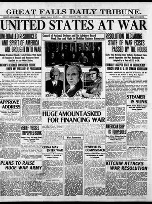 """The front page of the Great Falls Daily Tribune on April 6, 1917, with the headline in bold """"United States At War."""""""
