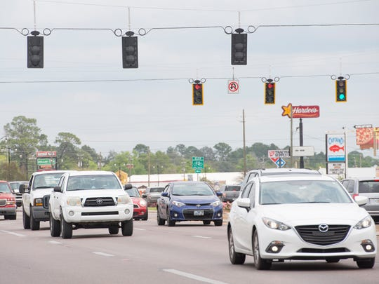 Heavy traffic is pictured on U.S. 90 in Milton on March 30, 2017.