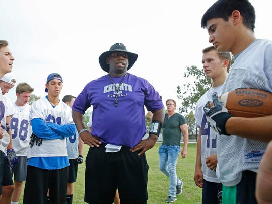Arizona College Prep head coach Myron Blueford works