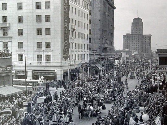 Central Avenue, looking north from Adams Street toward the San Carlos Hotel and Westward Ho in Phoenix in 1937.