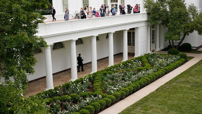 Journalists get an overhead view of the restored Rose Garden at the White House in Washington on Saturday. First Lady Melania Trump will deliver her Republican National Convention speech Tuesday night from the garden, famous for its close proximity to the Oval Office.