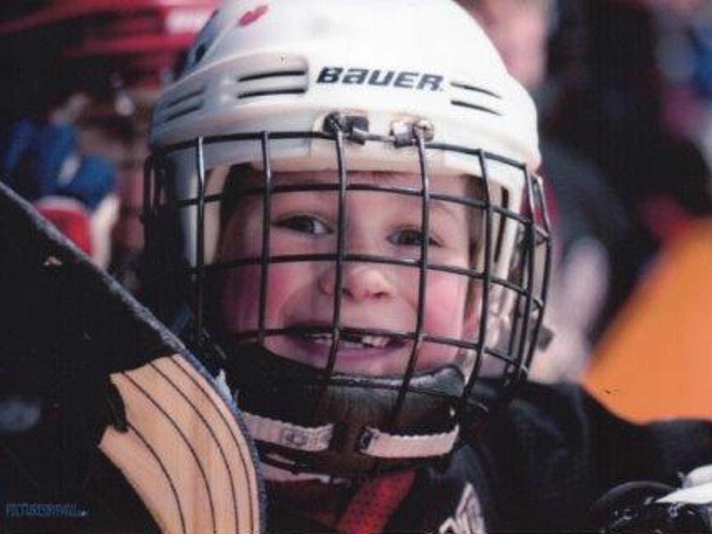Larkin loved hockey growing up. Here he is at age 7,