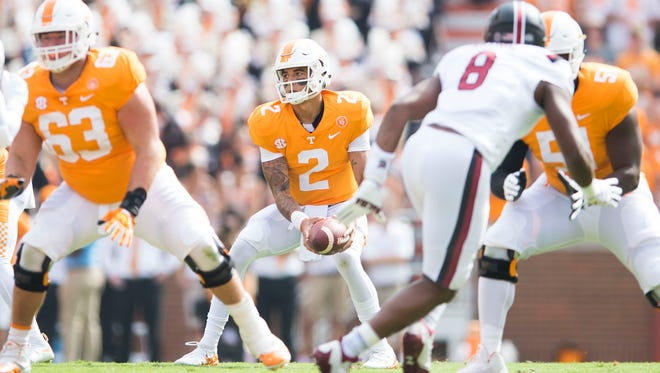 Tennessee quarterback Jarrett Guarantano (2) prepares to throw the ball during the first half of a Tennessee vs. South Carolina game at Neyland Stadium in Knoxville, Tenn. Saturday, Oct. 14, 2017.