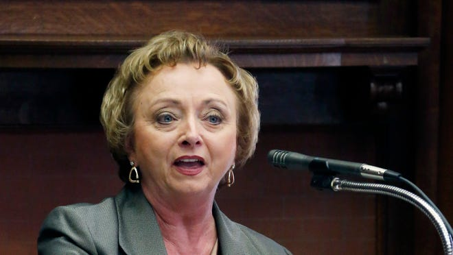 Mississippi Superintendent of Education Carey M. Wright addresses members of the House Appropriations Committee at the Capitol in Jackson, Miss., Tuesday, Jan. 21, 2014, during which time she explained the department's 2015 budget request. (AP Photo/Rogelio V. Solis)