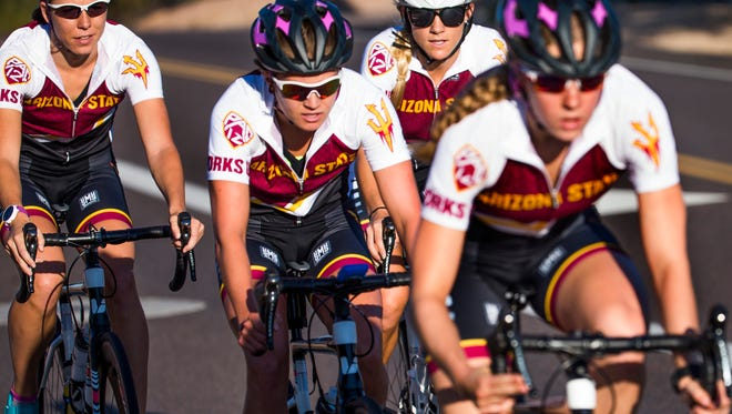Arizona State University  triathletes, from left to right: Amy Darlington, Katie Gorczyca, Nicole Truxes (director of operations) and Charlotte Ahrens.