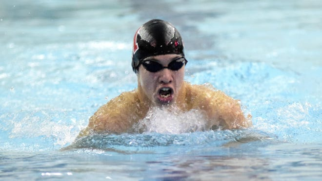 Tyler Babinec comes up for air as he swims at the 2017 Southwest Ohio Swimming Classic. Babinec was a state qualifier as a freshman for Milford.