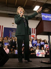 Hillary Clinton speaks during a rally at MCC.