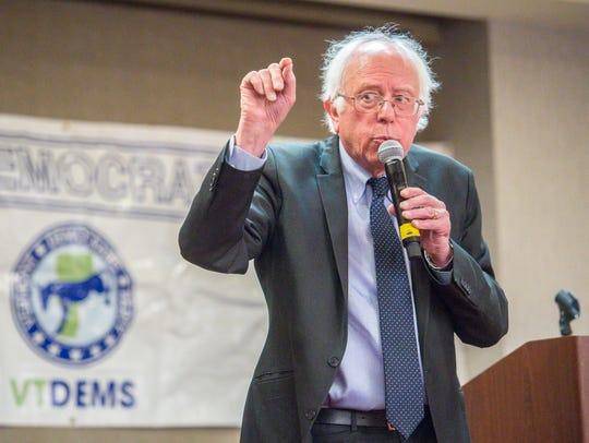 U.S. Senator Bernie Sanders, I-Vt., speaks to members