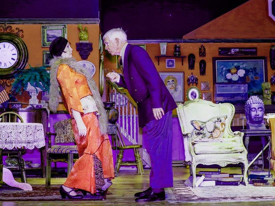 """Mr. Kirby (Kip Jones) gives Madame Kolenkhov (Suzanna Reed) a piece of his mind in The Studio Players' """"You Can't Take It With You,"""" but it will be returned shortly."""