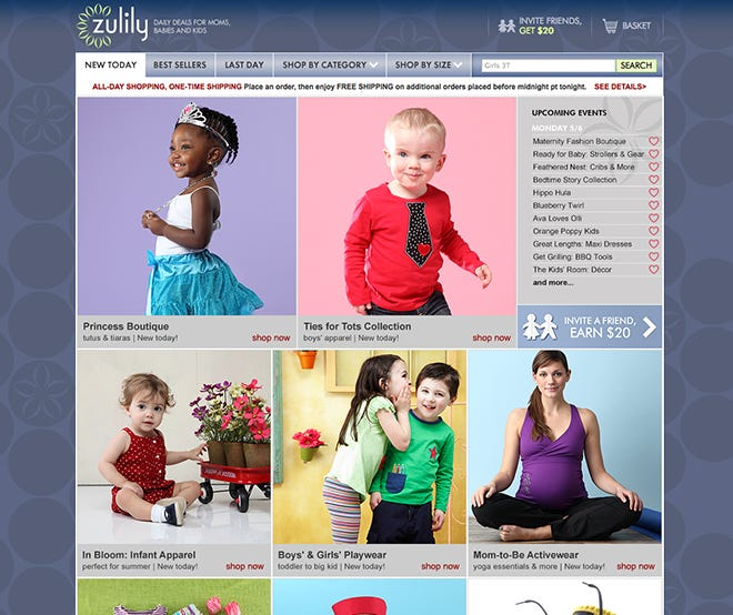 Zulily's homepage