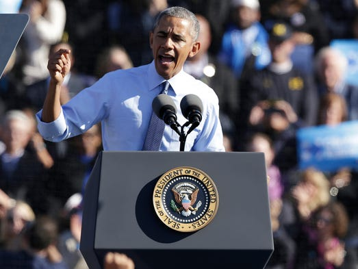 President Barack Obama stumps for Democratic nominee