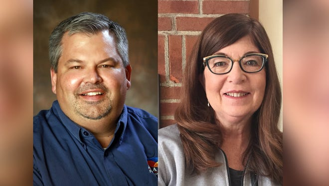 Jeff Fix, left, and Lisa Reade are seeking the Republican nomination for the Fairfield County Commissioner's seat currently held by Mike Kiger.