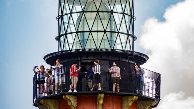 Visitors take a tour inside the Jupiter Inlet Lighthouse Outstanding Natural Area on October 1, 2019.