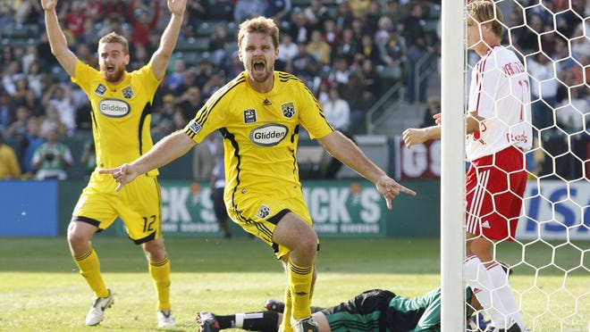 Chad Marshall of the Columbus Crew celebrates a goal during the 2008 MLS championship game, which can be viewed on YouTube.