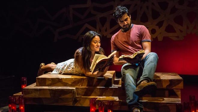 "Alexandra Lemus and Fajer Kaisi star as Paloma and Ibrahim in ""Paloma"" at the Kitchen Theatre Company."