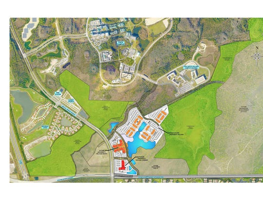 An aerial map shows the location of University Village in south Lee County, as well as a detailed site plan of where student residences, shops, restaurants and homes will be located.