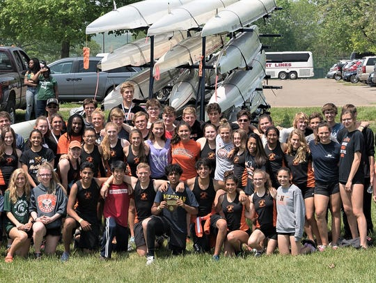 The Northville Rowing Club feartured a large contingent