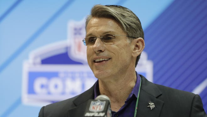 Minnesota Vikings general manager Rick Spielman speaks during a press conference at the NFL football scouting combine, Wednesday, Feb. 28, 2018, in Indianapolis.